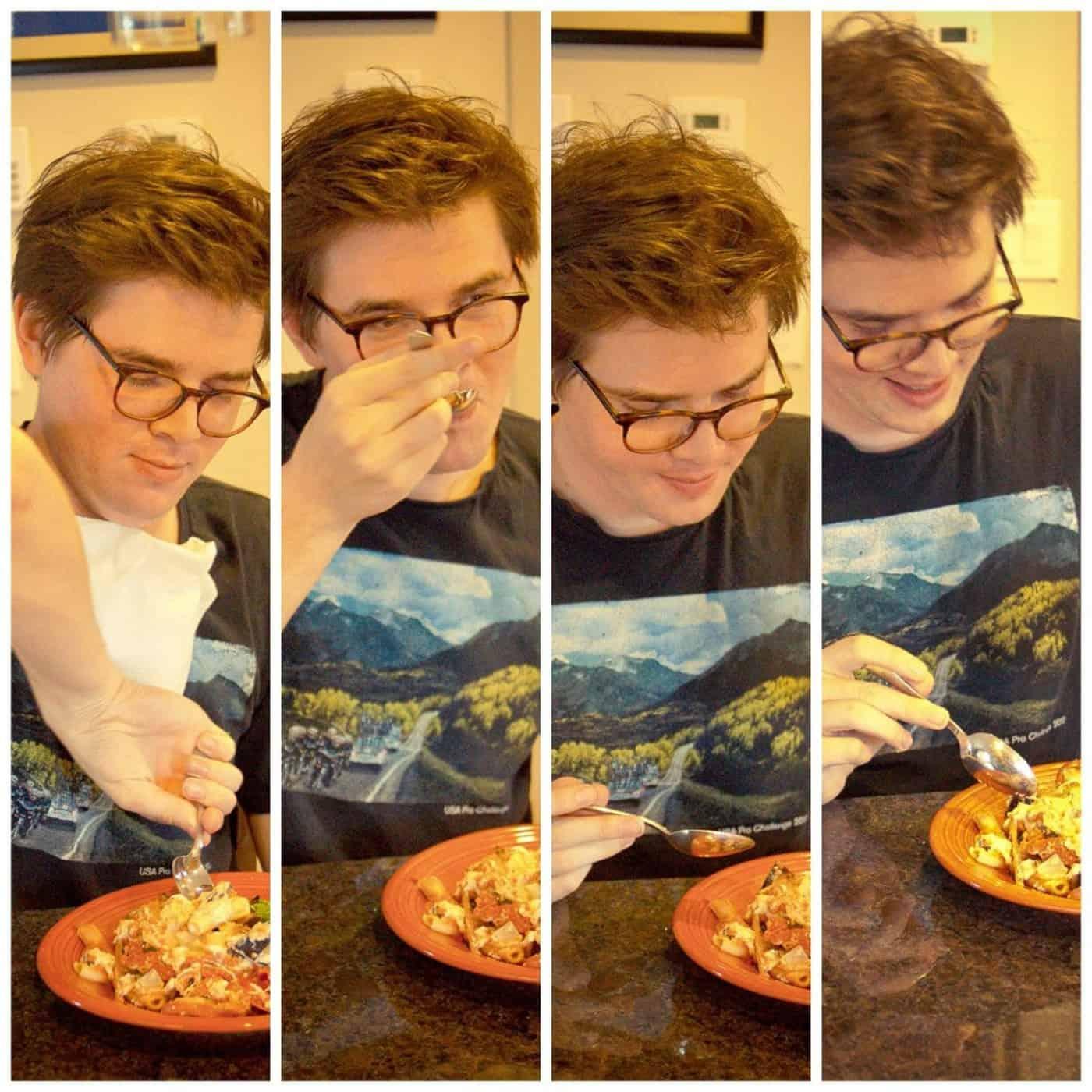 Alex evaluates the meal