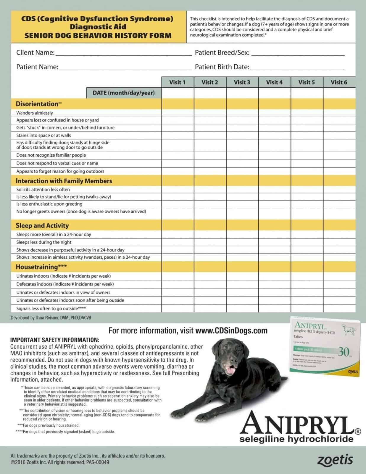 Canine Dementia Checklist