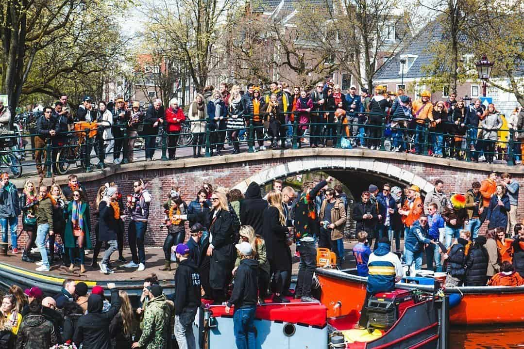 Crowds on King's Day Amsterdam