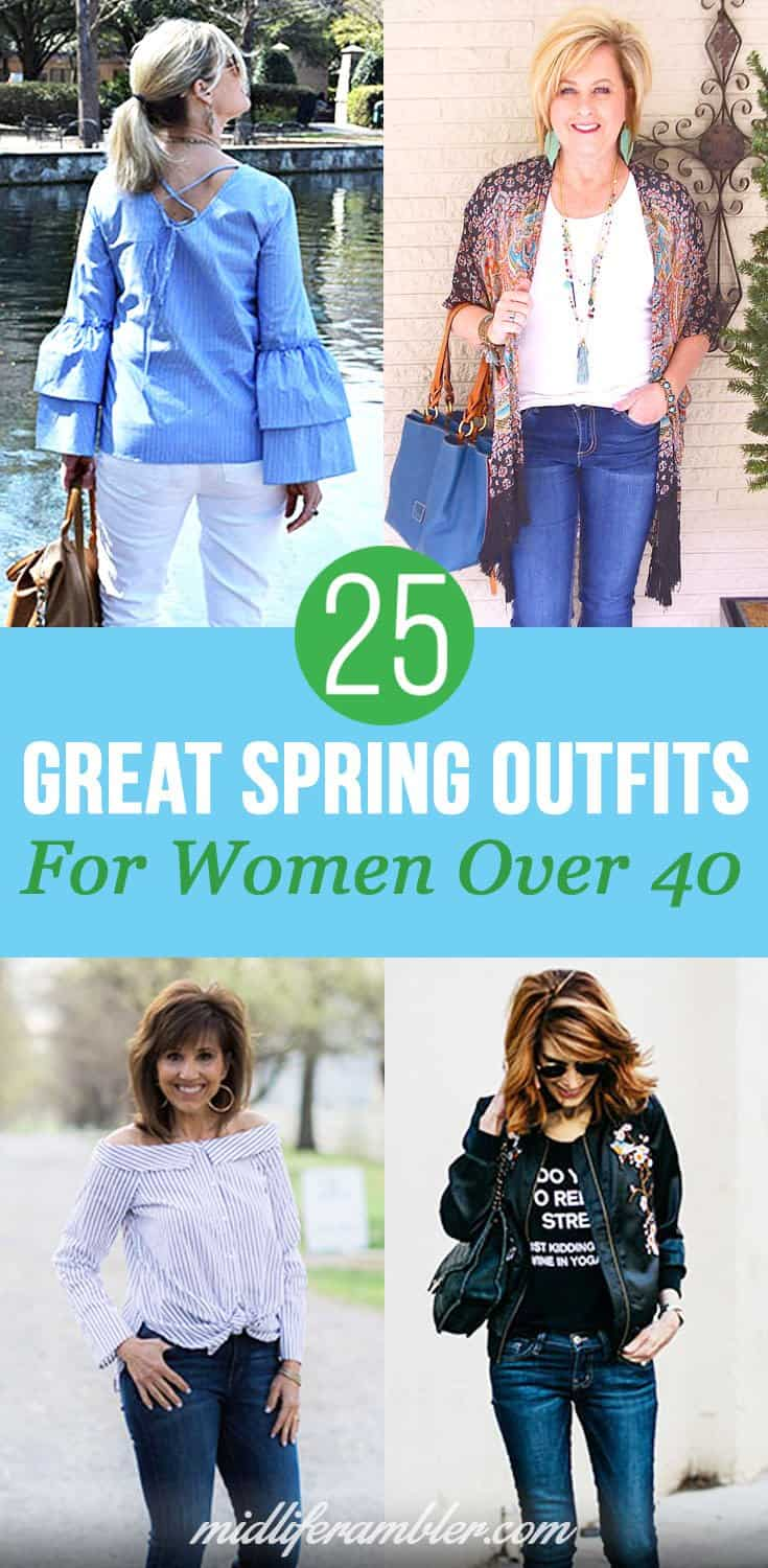 Women over 40 can still be fashionable! Here are 25 great spring outfits to inspire you modeled by my favorite over-40 bloggers in my daily Instagram feed.