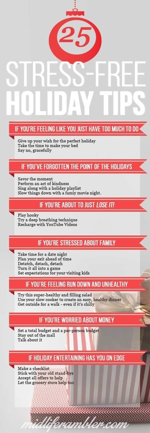 Holiday stress is the worst, isn't it? You have so much to do and you want everything to be perfect. Fortunately, here's a collection of tips to help you with your holiday stress no matter what the cause: lack of time, family issues, money woes. We've got you covered this holiday season. You can see all the tips for a stress-free holiday at midliferambler.com