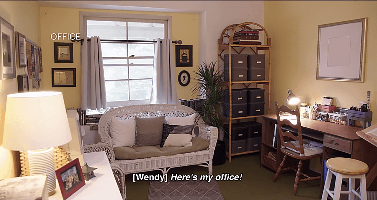 Newly organized office from Marie Kondo's Netflix Show Tidying Up with Marie Kondo