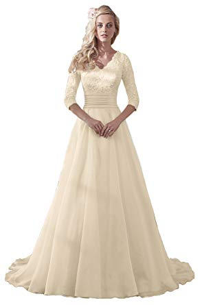 V-Neck 3/4 Sleeve Organza Wedding Dress