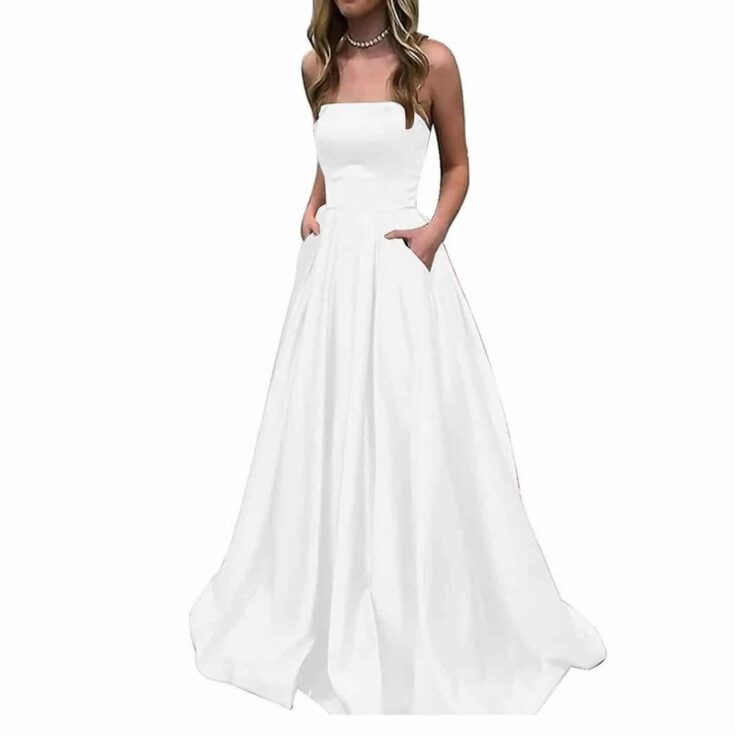 Strapless Gown with Pockets