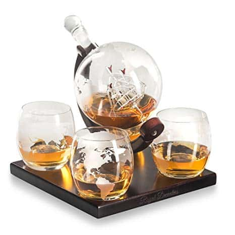 Etched Globe Whiskey Decanter Gift Set