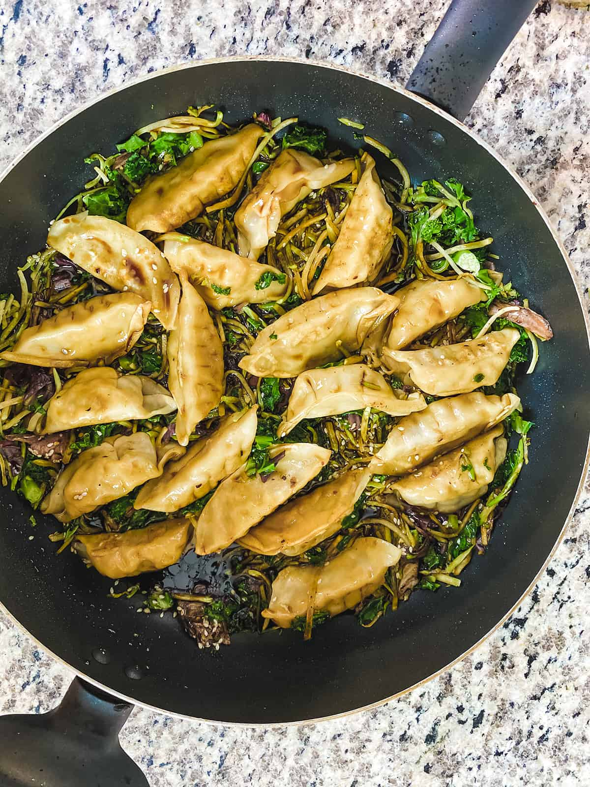 Easy Potstickers with Broccoli Kale Slaw and Spicy Homemade Sauce 3
