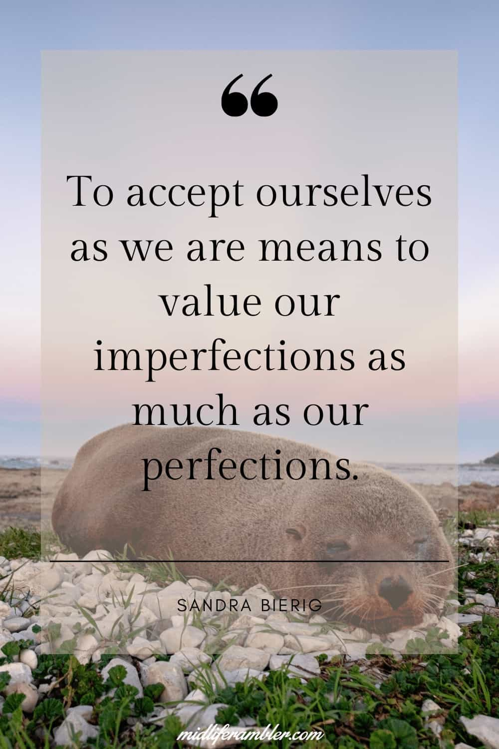 50 Self-Compassion Quotes and Affirmations to Help You Learn to Love and Accept Yourself - To accept ourselves as we are means to value our imperfections as much as our perfections. – Sandra Bierig