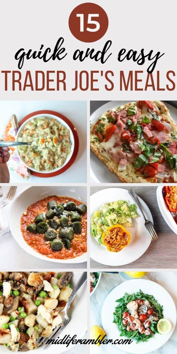 Trader Joe's always makes dinnertime so easy – especially now that it's just the two of us. We're trying to do less delivery and takeout these days, and these Trader Joe's recipes get dinner on the table faster than takeout. #mealsfortwo #traderjoesrecipes #traderjoesmeals #dinnerfortwo #midliferambler