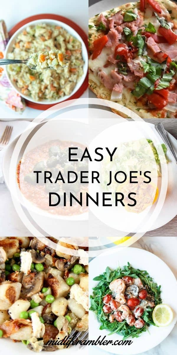 These quick and easy Trader Joe's recipes make the perfect dinner for two. All of these dinner recipes are ready in 30 minutes or less because they take advantage of the many pre-made dinner ingredients from Trader Joe's like cauliflower gnocchi, just the sauce just the sauce turkey bolognese, and Trader Joe's famous Orange Chicken to deliver a delicious and healthy meal in a fraction of the time you would normally need to prepare it. #mealsfortwo #traderjoesrecipes #traderjoesmeals #dinnerfortwo #midliferambler