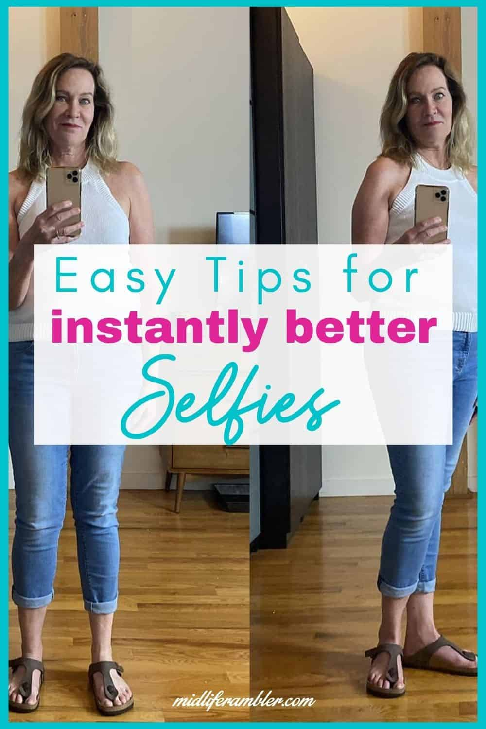 How to Take the Perfect Selfie Over 40 | Here's the secret to looking good in photos and taking the best selfies. How to angle your head to avoid a double chin, how to avoid that crazy eye look, how to pose to flatter your body and the best lighting for Instagram worthy photos. Plus simple changes you can make with apps on your phone to take things to the next level! #instagram #phototips #selfietips #midliferambler