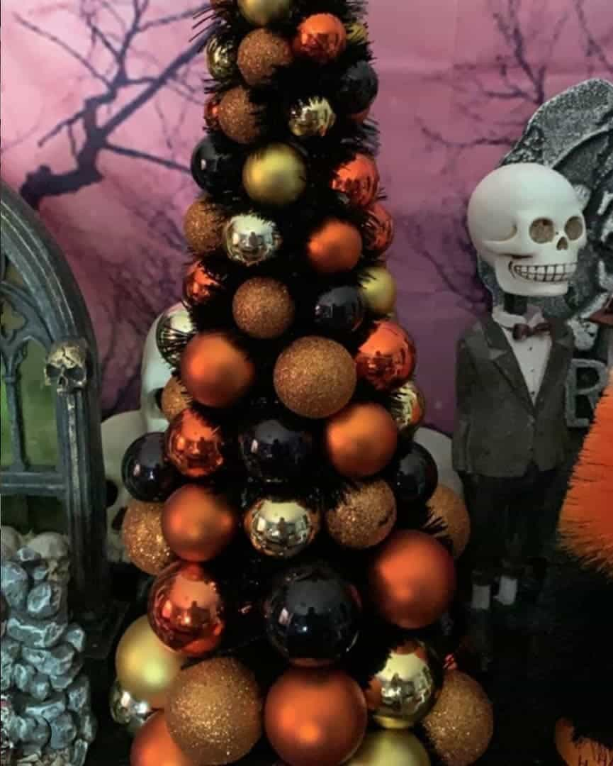 Tabletop Halloween Tree Filled with Ornaments