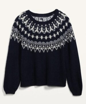Old Navy Cozy Fair Isle Blouson-Sleeve Sweater for Women