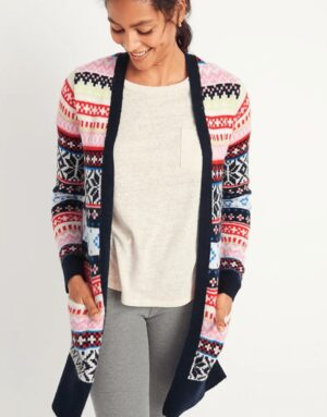 Old Navy Cozy Fair Isle Long-Line Open-Front Sweater for Women