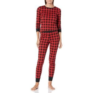Amazon Essentials 100% Cotton Long Sleeve Crew Neck Slim-Fit Shirt and Ankle Length Slim Fit Pant Pajama Set