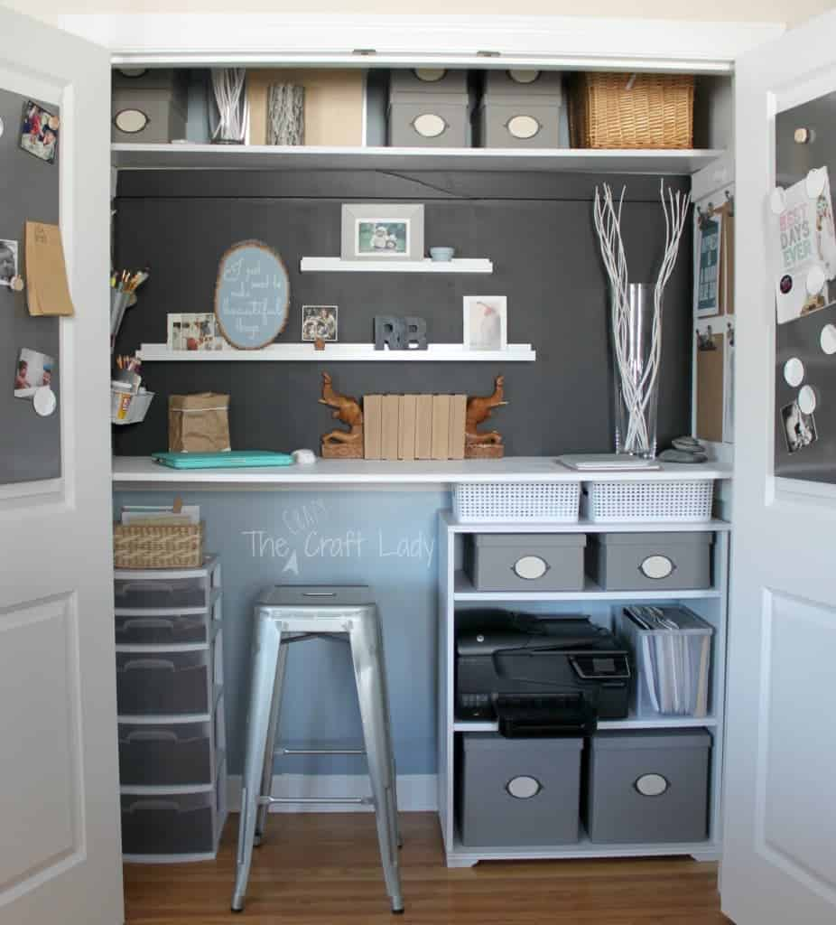 Home Office in a Closet by the Crazy Craft Lady
