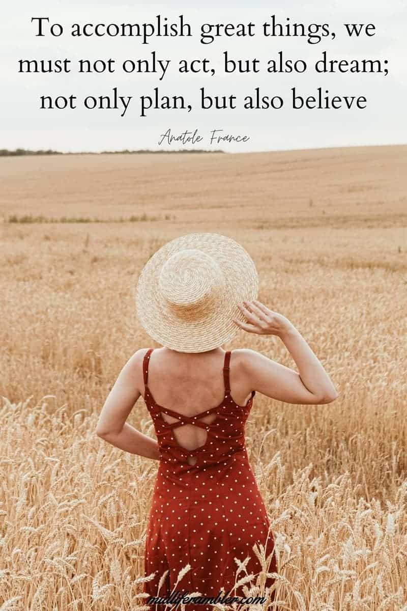To accomplish great things, we must not only act, but also dream; not only plan, but also believer - Anatole France