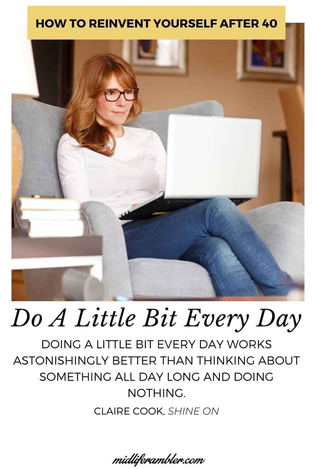 Woman with laptop working on reinventing her life.