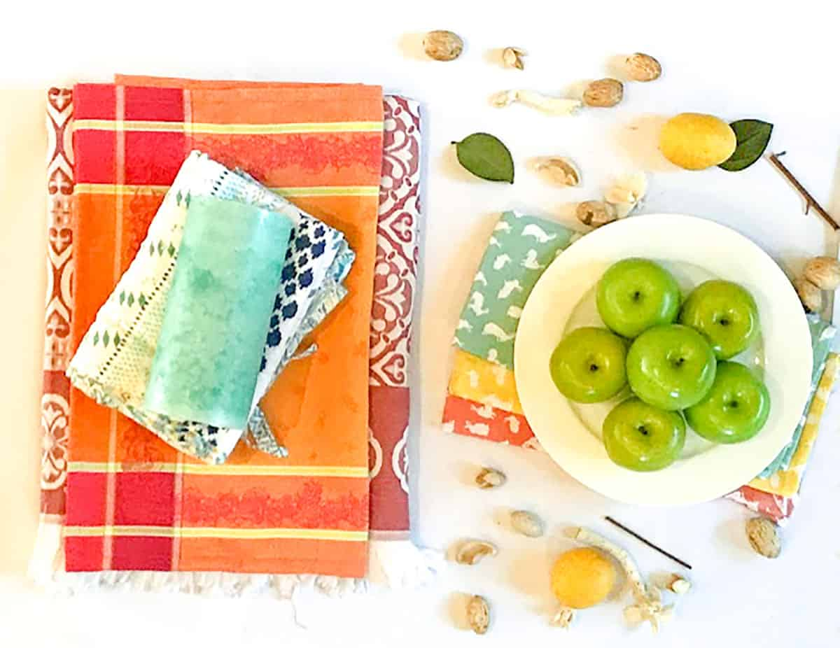 Colorful fabrics in hygge spring colors